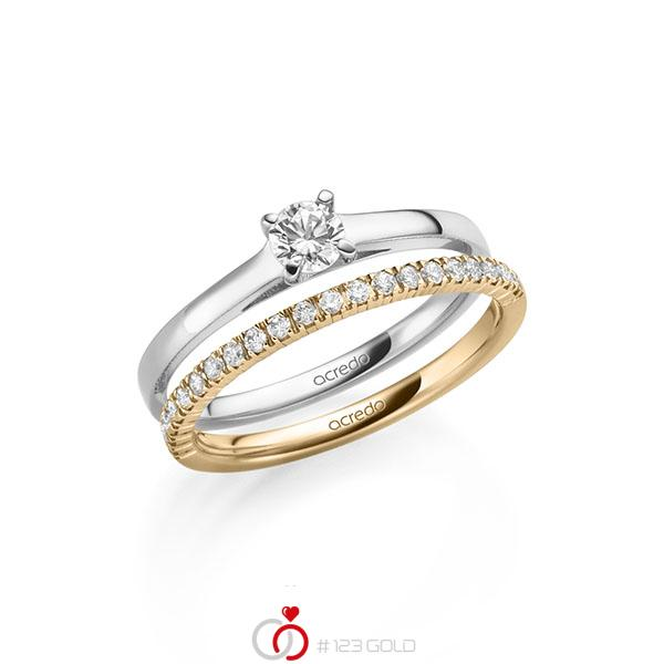Ring-Set in Weißgold 585 mit zus. 0,47 ct. Brillant tw, si tw, vs von acredo - A-2149-7