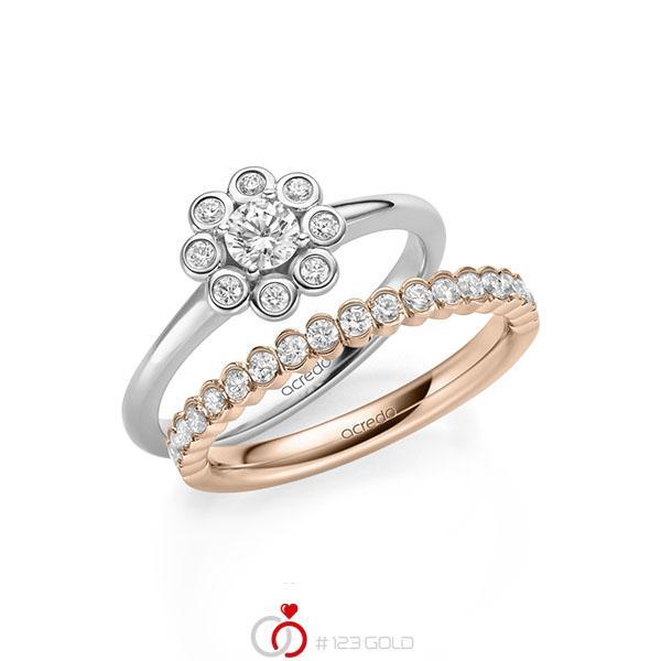 Ring-Set in Weißgold 585 mit zus. 0,75 ct. Brillant tw, si von acredo - A-2156-6