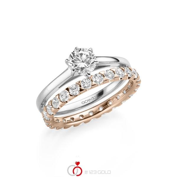 Ring-Set in witgoud 14 kt. met 0,7 ct. + in totaal 1,3 ct. Briljant tw/si van acredo - A-2151-6