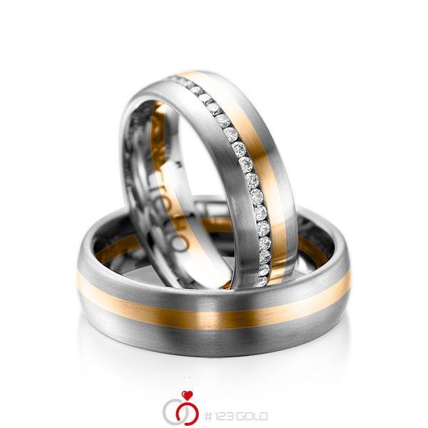 Set Bicolor Memoire-trouwringen in dark grey gold 14 kt. roségoud 14 kt. volledig gezet met in totaal 0,47 ct. Briljant tw/si van acredo - A-1014-14
