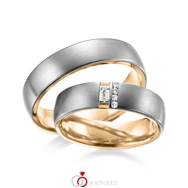 Set Bicolor trouwringen in buiten dark grey gold 14 kt. , binnen roségoud 14 kt. met in totaal 0,132 ct. Baguette-Diamant & Briljant tw,vs van acredo - A-6018-8