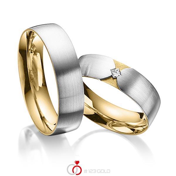 Set Bicolor trouwringen in buiten grijsgoud 14 kt. , binnen geelgoud 14 kt. met in totaal 0,04 ct. Princess-Diamant tw/si van acredo - A-3020-1