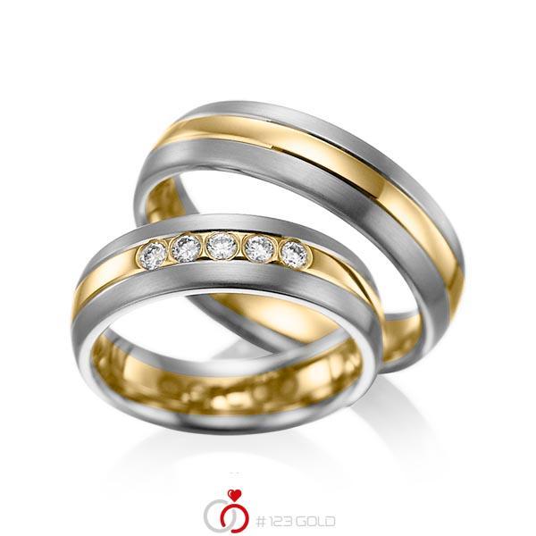 Set Bicolor trouwringen in dark grey gold 14 kt. geelgoud 14 kt. met in totaal 0,2 ct. Briljant tw/si van acredo - A-1001-13
