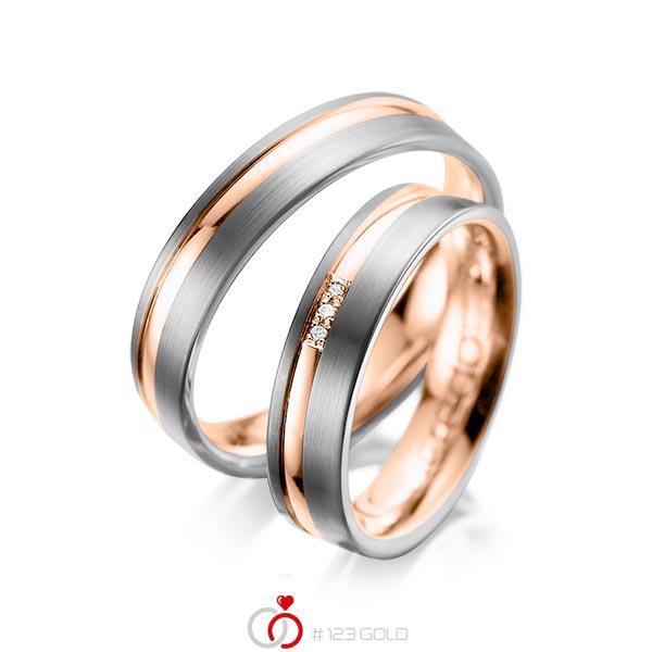 Set Bicolor trouwringen in dark grey gold 14 kt. roodgoud 14 kt. met in totaal 0,015 ct. Briljant tw/si van acredo - A-1039-15