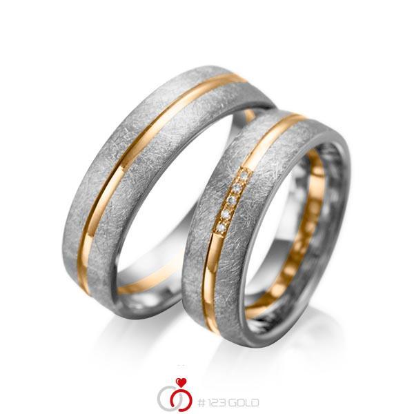 Set Bicolor trouwringen in dark grey gold 14 kt. roségoud 14 kt. met in totaal 0,025 ct. Briljant tw/si van acredo - A-1007-13