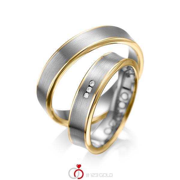 Set Bicolor trouwringen in geelgoud 14 kt. dark grey gold 14 kt. met in totaal 0,03 ct. Briljant tw/si van acredo - A-1055-13
