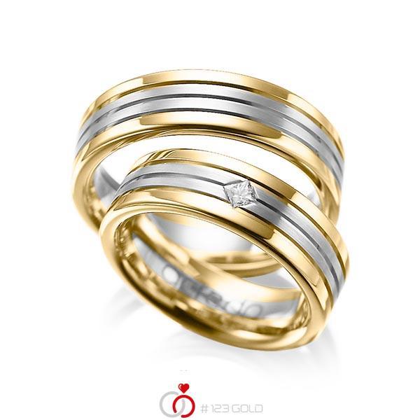 Set Bicolor trouwringen in geelgoud 14 kt. grijsgoud 14 kt. met in totaal 0,08 ct. Princess-Diamant tw/si van acredo - A-1023-1