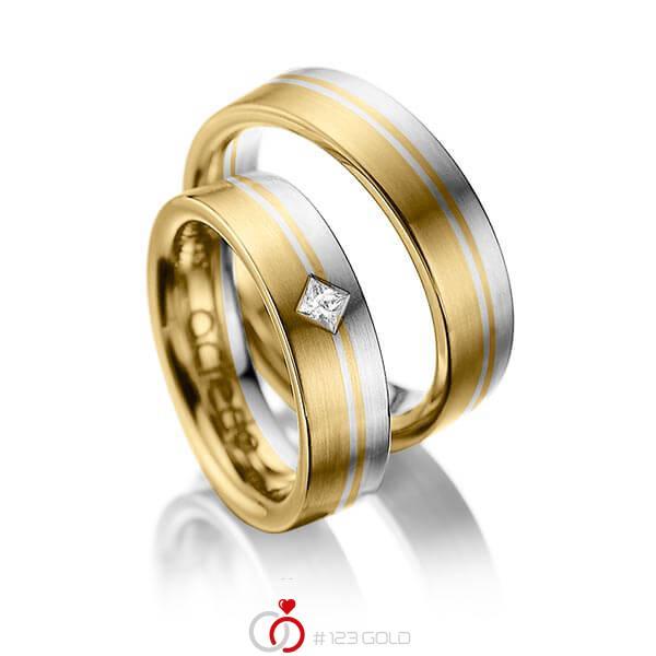 Set Bicolor trouwringen in geelgoud 14 kt. grijsgoud 14 kt. met in totaal 0,1 ct. Princess-Diamant tw/si van acredo - A-1020-1