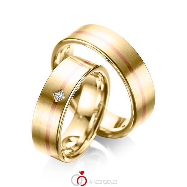 Set Bicolor trouwringen in geelgoud 14 kt. roodgoud 14 kt. met in totaal 0,03 ct. Princess-Diamant tw/si van acredo - A-1060-1