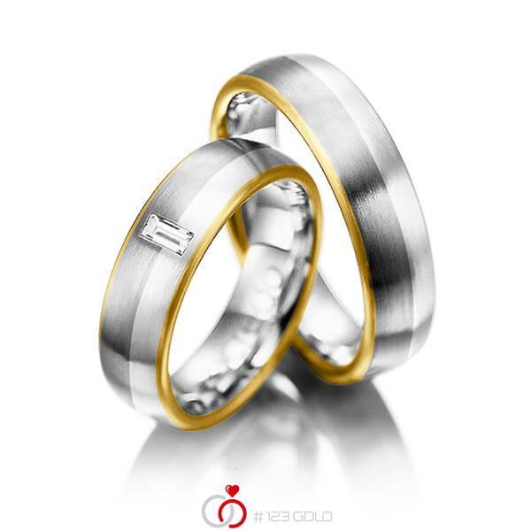 Set Bicolor trouwringen in geelgoud 18 kt. grijsgoud 18 kt. platina 950 met in totaal 0,1 ct. Baguette-Diamant tw,vs van acredo - A-1002-1