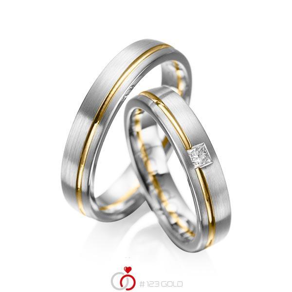 Set Bicolor trouwringen in grijsgoud 14 kt. geelgoud 14 kt. met in totaal 0,08 ct. Princess-Diamant tw/si van acredo - A-1018-6