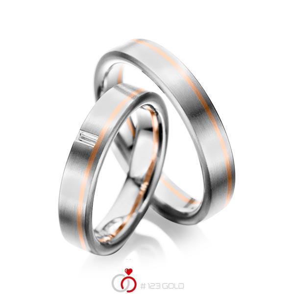 Set Bicolor trouwringen in grijsgoud 14 kt. roodgoud 14 kt. met in totaal 0,05 ct. Baguette-Diamant tw,vs van acredo - A-1022-3