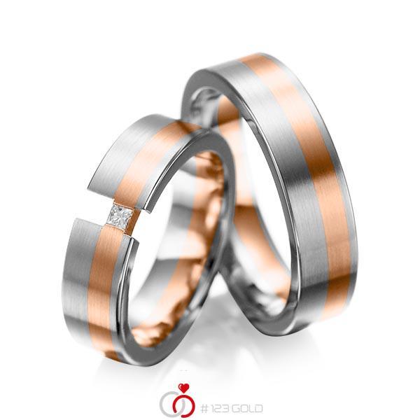 Set Bicolor trouwringen in grijsgoud 14 kt. roodgoud 14 kt. met in totaal 0,05 ct. Princess-Diamant tw/si van acredo - A-1025-10