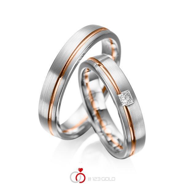 Set Bicolor trouwringen in grijsgoud 14 kt. roodgoud 14 kt. met in totaal 0,08 ct. Princess-Diamant tw/si van acredo - A-1018-5