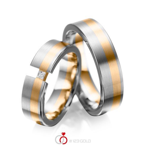 Set Bicolor trouwringen in grijsgoud 14 kt. roségoud 14 kt. met in totaal 0,05 ct. Princess-Diamant tw/si van acredo - A-1025-9