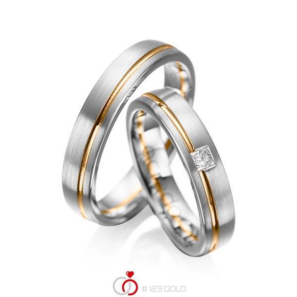 Set Bicolor trouwringen in grijsgoud 14 kt. roségoud 14 kt. met in totaal 0,08 ct. Princess-Diamant tw/si van acredo - A-1018-7
