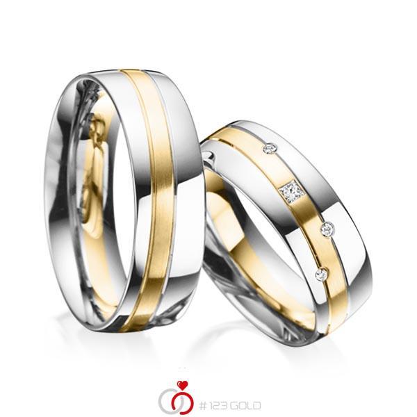 Set Bicolor trouwringen in platina 950 geelgoud 18 kt. met in totaal 0,07 ct. Princess-Diamant & Briljant tw/si van acredo - A-3019-4
