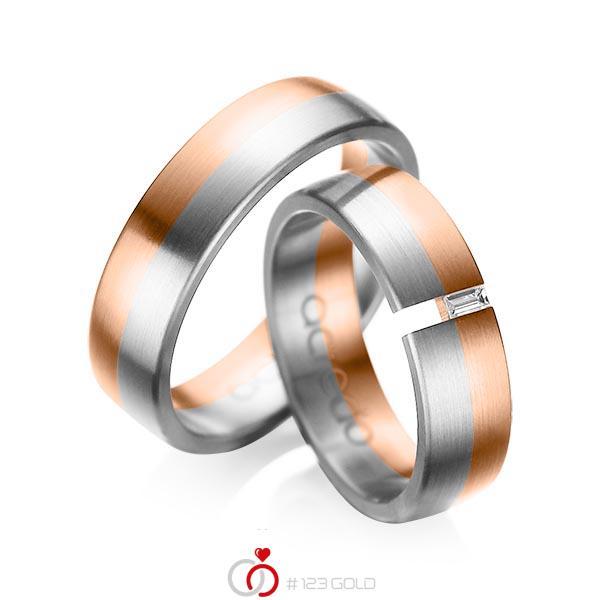 Set Bicolor trouwringen in roodgoud 14 kt. grijsgoud 14 kt. met in totaal 0,05 ct. Baguette-Diamant tw,vs van acredo - A-1035-9