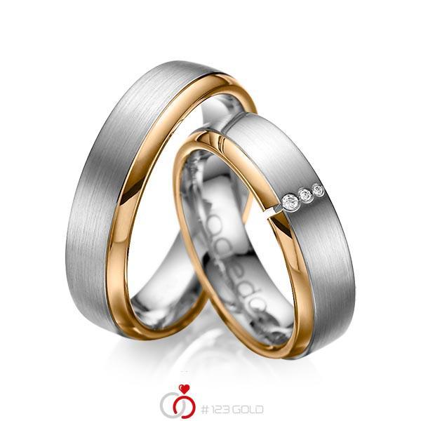 Set Bicolor trouwringen in roségoud 14 kt. dark grey gold 14 kt. met in totaal 0,03 ct. Briljant tw/si van acredo - A-1067-13