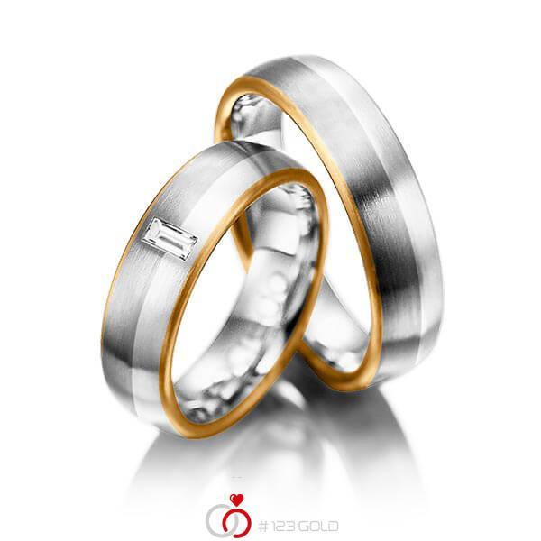 Set Bicolor trouwringen in roségoud 18 kt. grijsgoud 18 kt. platina 950 met in totaal 0,1 ct. Baguette-Diamant tw,vs van acredo - A-1002-9