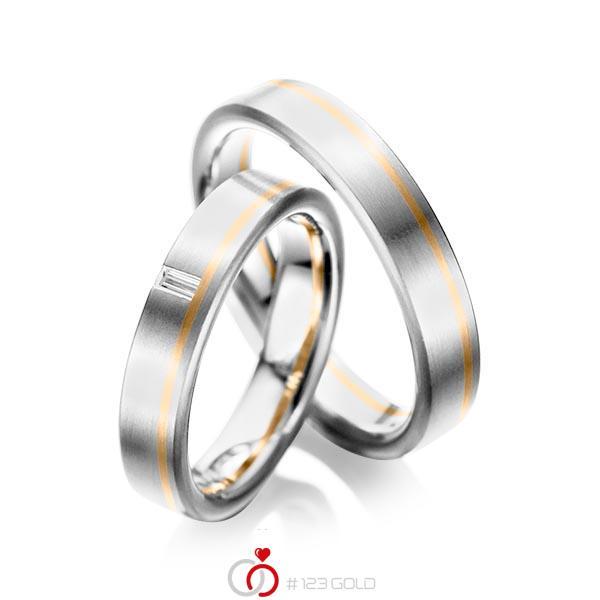 Set Bicolor trouwringen in witgoud 14 kt. roségoud 14 kt. met in totaal 0,05 ct. Baguette-Diamant tw,vs van acredo - A-1022-5