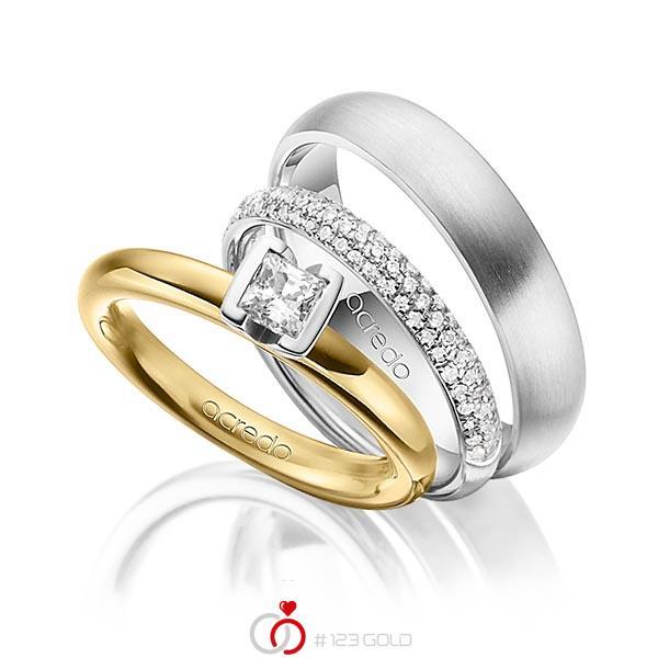 Set in Gelbgold 750 mit 0,4 ct. + zus. 0,38 ct. Prinzess-Diamant & Brillant tw, vs tw, si von acredo - A-1435-13