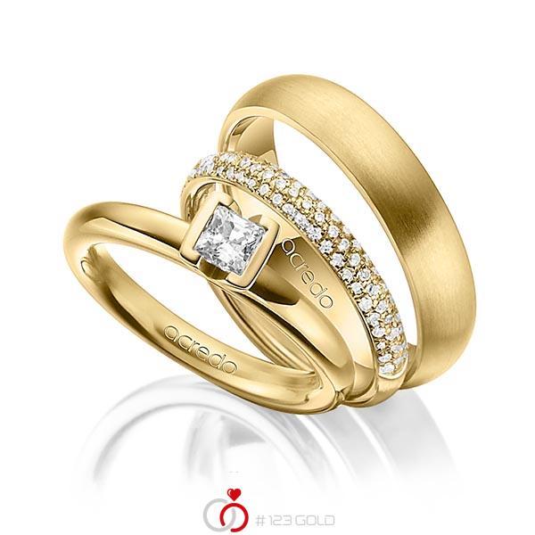 Set in Gelbgold 750 mit 0,4 ct. + zus. 0,38 ct. Prinzess-Diamant & Brillant tw, vs tw, si von acredo - A-1435-15