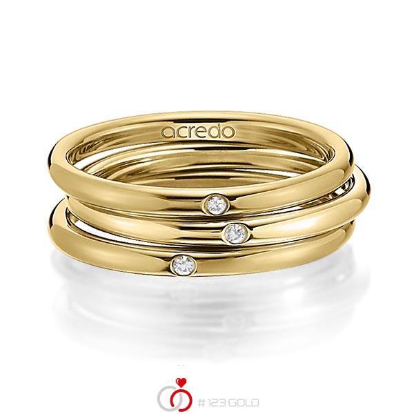 Set in Gelbgold 750 mit zus. 0,03 ct. Brillant tw, si von acredo - A-1442-10