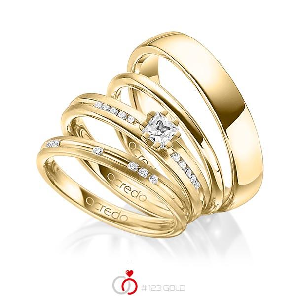 Set in Gelbgold 750 mit zus. 0,47 ct. Brillant & Prinzess-Diamant tw, si von acredo - A-1414-13
