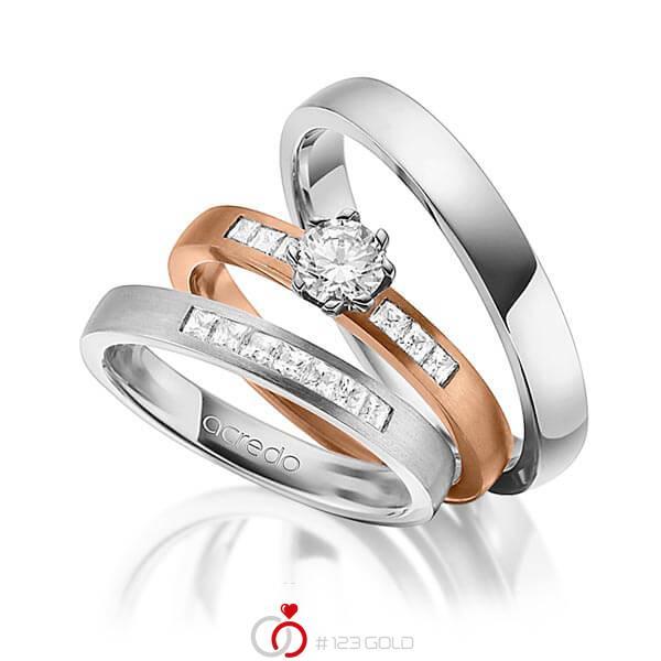 Set in Graugold 585 mit 0,4 ct. + zus. 0,39 ct. Prinzess-Diamant & Brillant tw, si tw, vs von acredo - A-1433-11