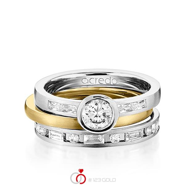 Set in Graugold 585 mit 0,5 ct. + zus. 1,005 ct. Brillant & Baguette-Diamant tw, si tw, vs von acredo - A-1441-10