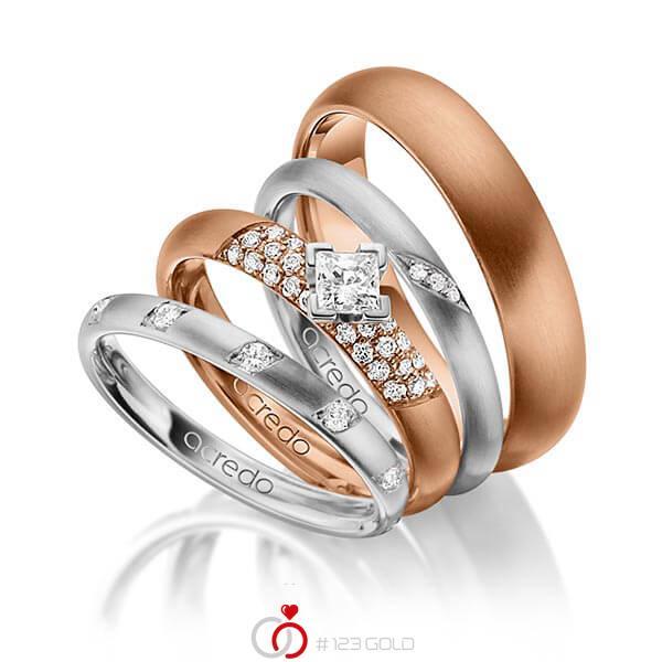 Set in Graugold 585 mit zus. 0,755 ct. Brillant & Prinzess-Diamant tw, si von acredo - A-1413-11