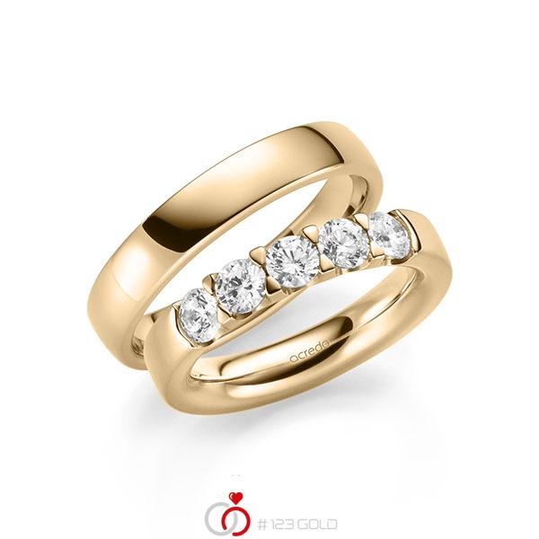 Set in Roségold 585 mit zus. 1,25 ct. Brillant tw, si von acredo - A-2116-4