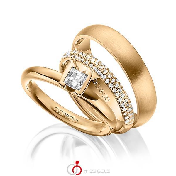 Set in Roségold 750 mit 0,4 ct. + zus. 0,38 ct. Prinzess-Diamant & Brillant tw, vs tw, si von acredo - A-1435-17