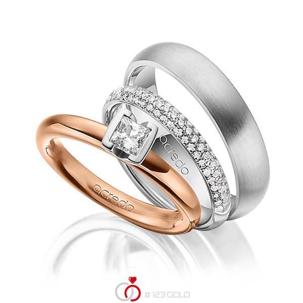 Set in Rotgold 585 mit 0,4 ct. + zus. 0,38 ct. Prinzess-Diamant & Brillant tw, vs tw, si von acredo - A-1435-11