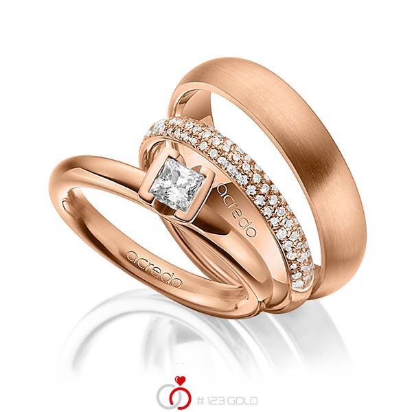 Set in Rotgold 750 mit 0,4 ct. + zus. 0,38 ct. Prinzess-Diamant & Brillant tw, vs tw, si von acredo - A-1435-16