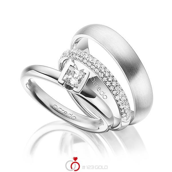 Set in Weißgold 750 mit 0,4 ct. + zus. 0,38 ct. Prinzess-Diamant & Brillant tw, vs tw, si von acredo - A-1435-18