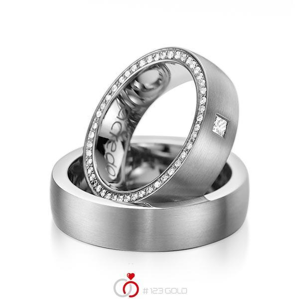 Set klassieke Memoire-trouwringen in dark grey gold 14 kt. volledig gezet met in totaal 0,355 ct. Princess-Diamant & Briljant tw,vs tw/si van acredo - A-1071-2