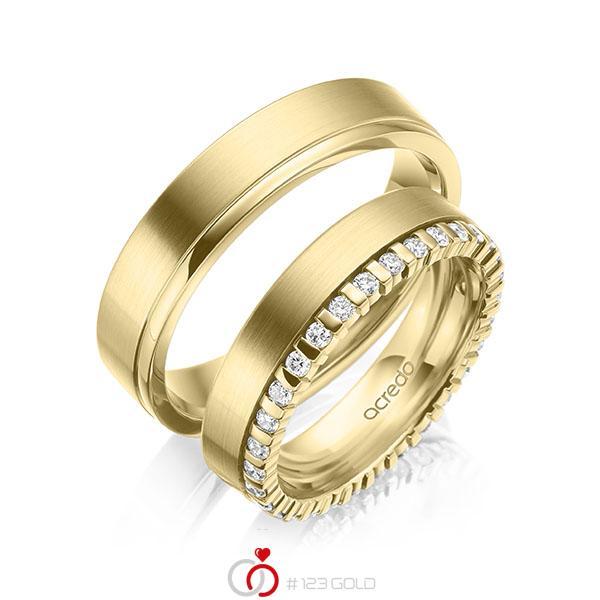 Set Klassieke Memoire-trouwringen in geelgoud 14 kt. volledig gezet met in totaal 0,465 ct. tw/si van acredo - A-2105-3