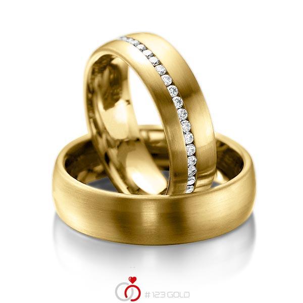 Set klassieke Memoire-trouwringen in geelgoud 14 kt. volledig gezet met in totaal 0,47 ct. Briljant tw/si van acredo - A-1014-9