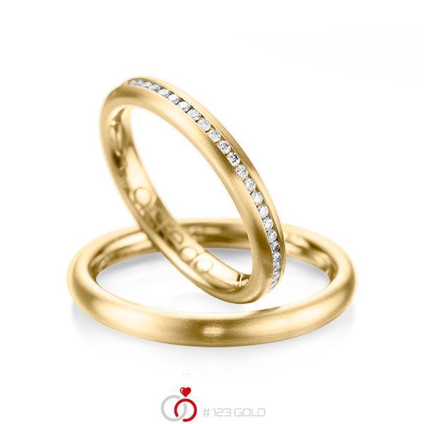 Set klassieke Memoire-trouwringen in geelgoud 14 kt. volledig gezet met in totaal 0,47 ct. Briljant tw/si van acredo - A-1074-1