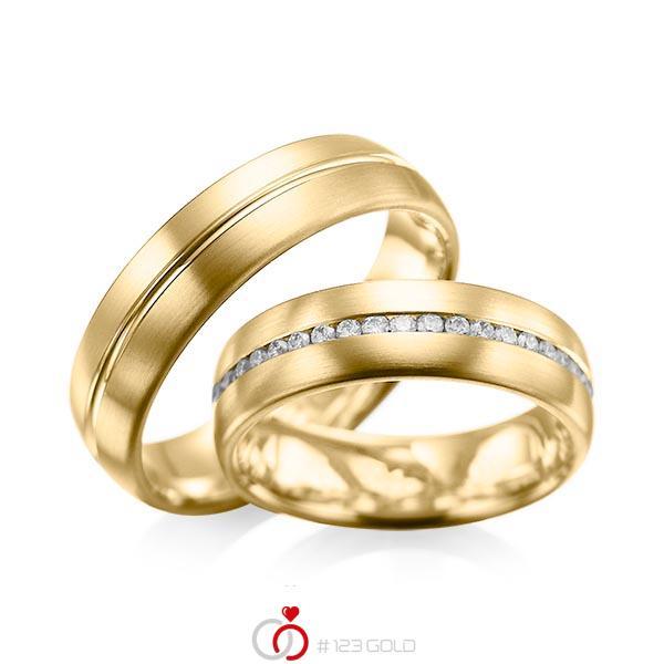 Set Klassieke Memoire-trouwringen in geelgoud 14 kt. volledig gezet met in totaal 0,615 ct. Briljant tw/si van acredo - A-1031-9