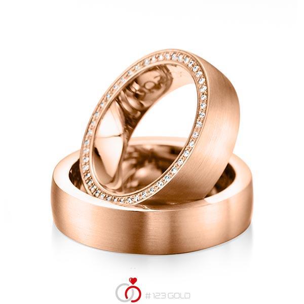 Set klassieke Memoire-trouwringen in roodgoud 14 kt. volledig gezet met in totaal 0,255 ct. Briljant tw/si van acredo - A-1072-6