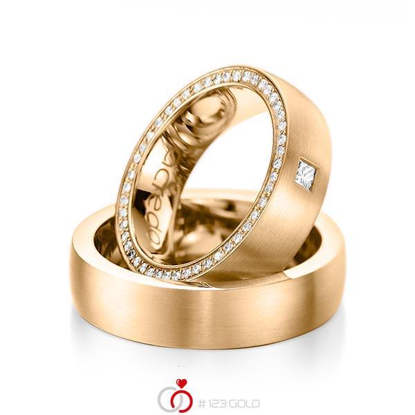 Set klassieke Memoire-trouwringen in roségoud 14 kt. volledig gezet met in totaal 0,355 ct. Princess-Diamant & Briljant tw,vs tw/si van acredo - A-1071-5