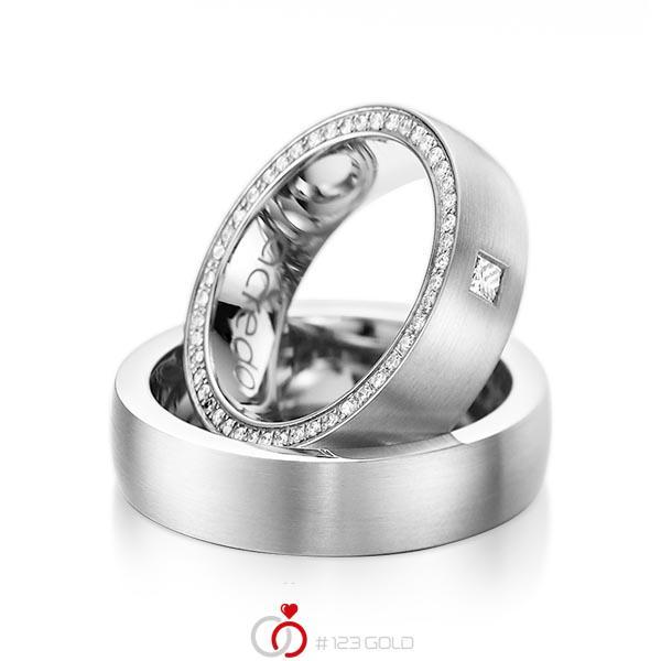 Set klassieke Memoire-trouwringen in witgoud 14 kt. volledig gezet met in totaal 0,355 ct. Princess-Diamant & Briljant tw,vs tw/si van acredo - A-1071-1