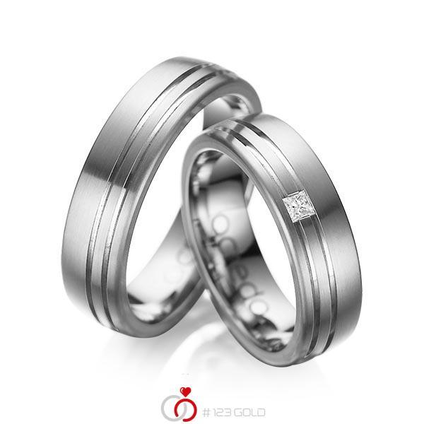 Set Klassieke trouwringen in buiten dark grey gold 14 kt. , binnen dark grey gold 14 kt. met in totaal 0,05 ct. Princess-Diamant tw/si van acredo - A-1040-5