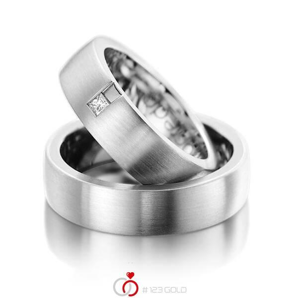 Set klassieke trouwringen in buiten dark grey gold 14 kt. , binnen dark grey gold 14 kt. met in totaal 0,06 ct. Princess-Diamant tw/si van acredo - A-1091-7