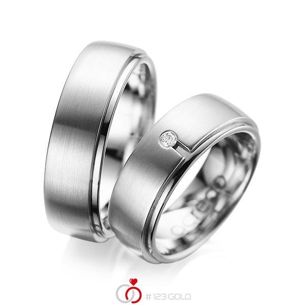 Set Klassieke trouwringen in buiten grijsgoud 14 kt. , binnen grijsgoud 14 kt. met in totaal 0,03 ct. Briljant tw/si van acredo - A-1090-11