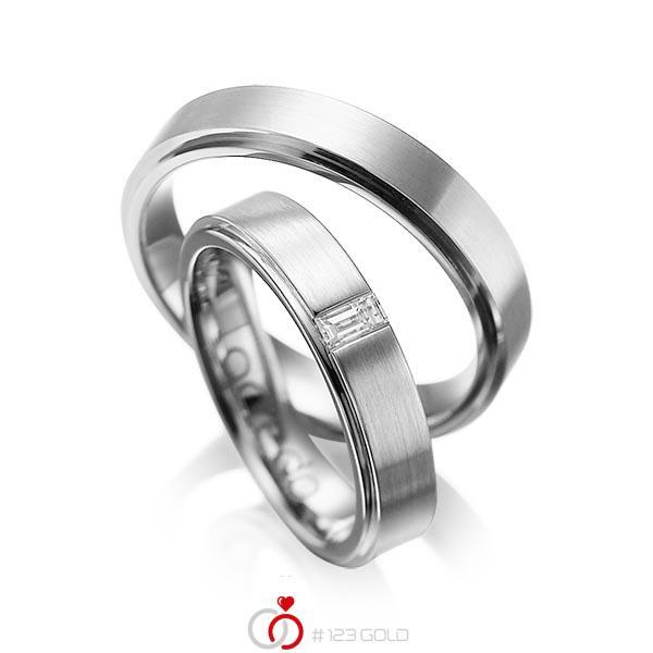 Set Klassieke trouwringen in buiten grijsgoud 14 kt. , binnen grijsgoud 14 kt. met in totaal 0,12 ct. Baguette-Diamant tw,vs van acredo - A-1054-5
