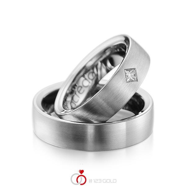 Set klassieke trouwringen in buiten grijsgoud 14 kt. , binnen grijsgoud 14 kt. met in totaal 0,12 ct. Princess-Diamant tw/si van acredo - A-1073-11